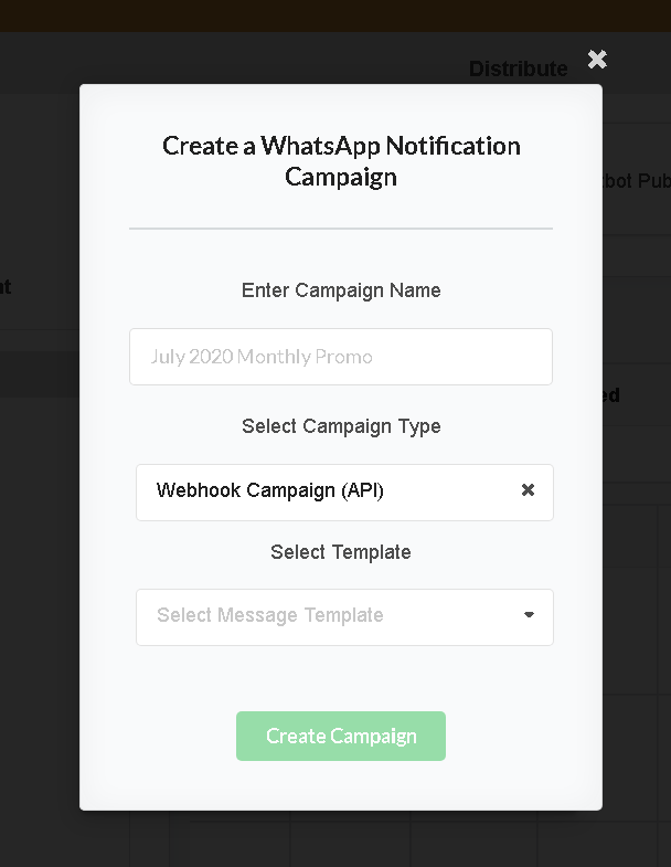 Selecting Webhook Campaign